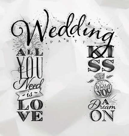 くしゃくしゃになった紙の背景に描かれたヴィンテージスタイルの結婚式と婚約の背景