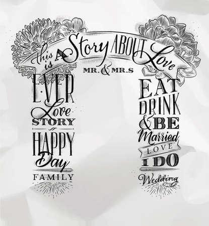 くしゃくしゃになった紙の背景に描かれたレトロなスタイルの結婚式と婚約の背景