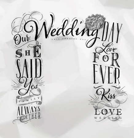 くしゃくしゃになった紙の背景に描かれた結婚式と婚約の背景 写真素材 - 91654617