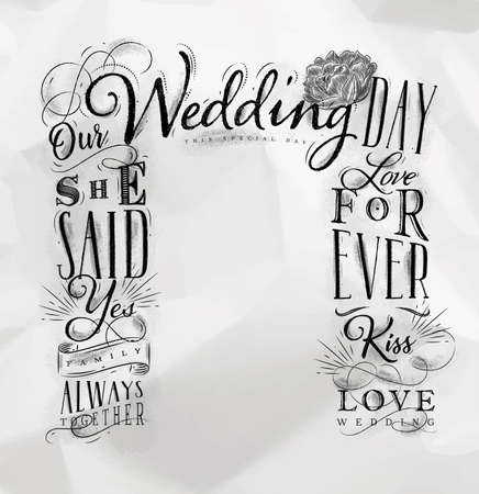 Wedding and engagement backdrop drawing on crumpled paper background