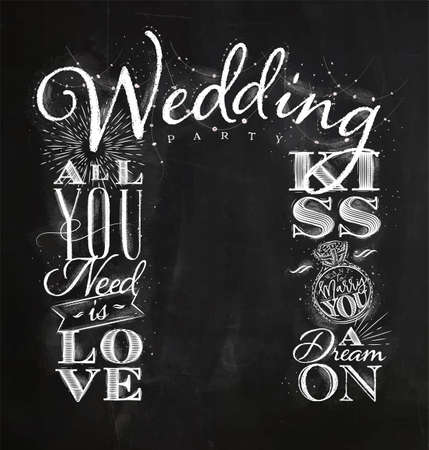 黒板の背景にチョークとヴィンテージスタイルの図面で結婚式や婚約の背景  イラスト・ベクター素材