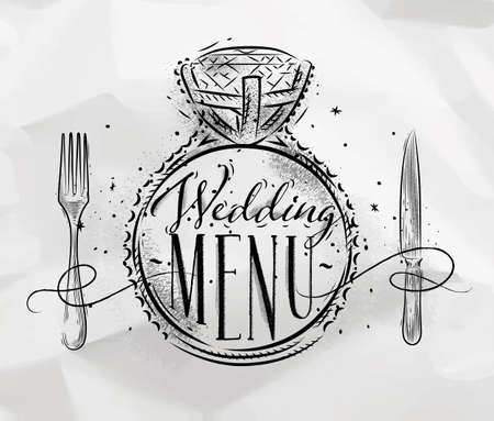 Poster wedding ring lettering wedding menu drawing on crumpled paper background Illustration