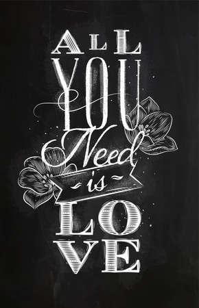 あなたが必要とするポスターレタリングは、黒板の背景にチョークで描く愛です 写真素材 - 91913827