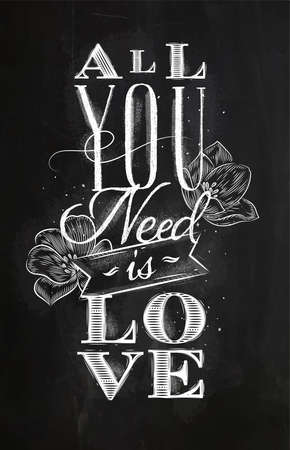 Poster lettering all you need is love drawing with chalk on chalkboard background