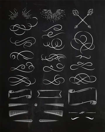 Calligraphic elements in vintage graphic style drawing with chalk on chalkboard background Illusztráció