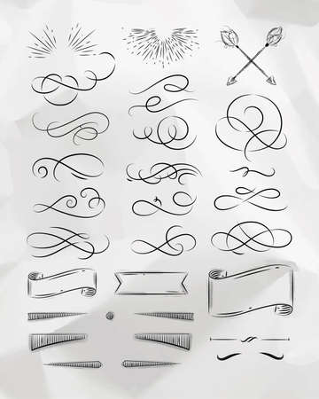Calligraphic elements in vintage graphic style drawing on crumpled paper background