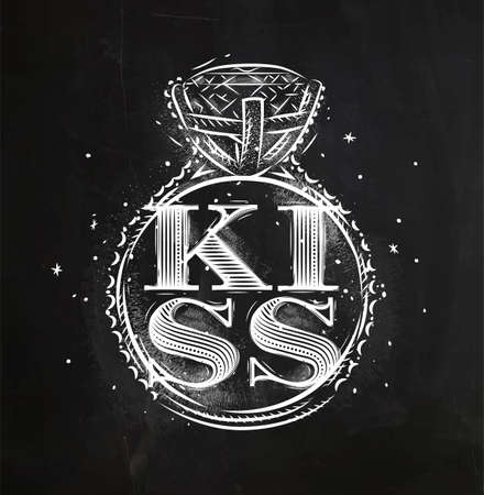 Poster ring lettering kiss drawing with chalk on chalkboard background 向量圖像