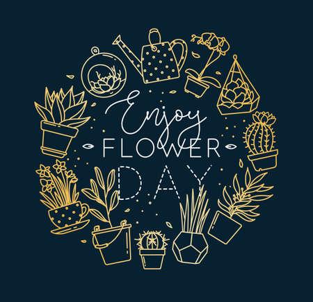 ポットレタリングのモノグラム平らな植物は、濃い青色の背景に金で花の日の描画をお楽しみください