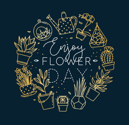 Monogram flat plants in pots lettering enjoy flower day drawing with gold on dark blue background
