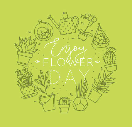 Monogram flat plants in pots lettering enjoy flower day drawing with green on light green background