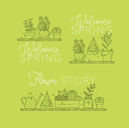 Compositions with shelf flat icon plants in pots lettering welcome spring, flower story drawing with green on light green background