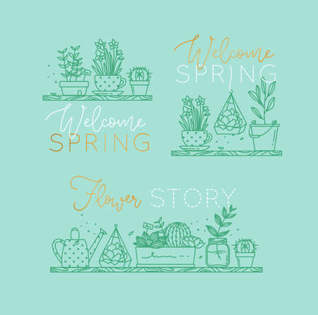 Compositions with shelf flat icon plants in pots lettering welcome spring, flower story drawing with menthol on turquoise background Illustration
