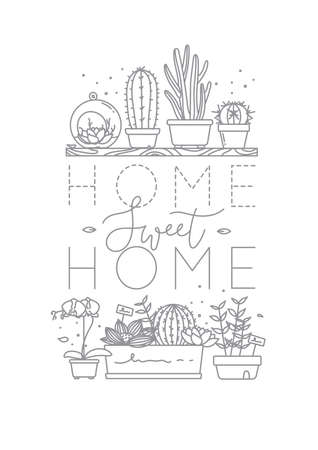 Compositions with shelf flat icon plants in pots lettering home sweet home drawing on white background. Иллюстрация