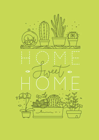 Compositions with shelf flat icon plants in pots lettering home sweet home drawing with green on light green background Illustration