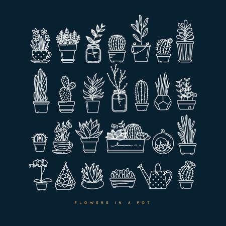 Icon flat set plants in pots drawing on dark blue background Çizim