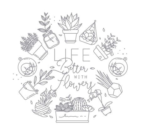 Monogram flat plants in pots lettering life better wirth flowers drawing on white background