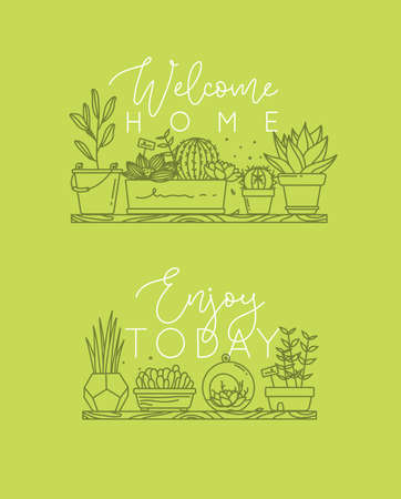 Compositions with shelf flat icon plants in pots lettering welcome home, enjoy today drawing with green on light green background. Çizim