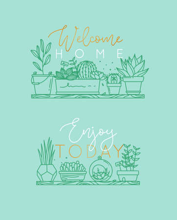 Compositions with shelf flat icon plants in pots lettering welcome home, enjoy today drawing with menthol on turquoise background