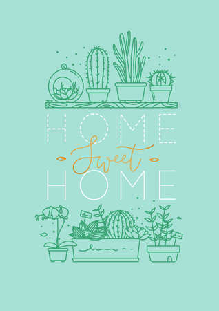 Compositions with shelf flat icon plants in pots lettering home sweet home drawing with menthol on turquoise background Illustration