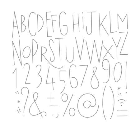 Alphabet numbers and symbols in straight lines font