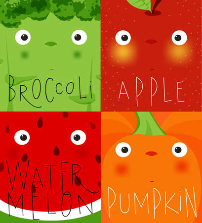 Set of fruits and vegetables muzzles broccoli, apple, watermelon, pumpkin drawing in cute cartoon style