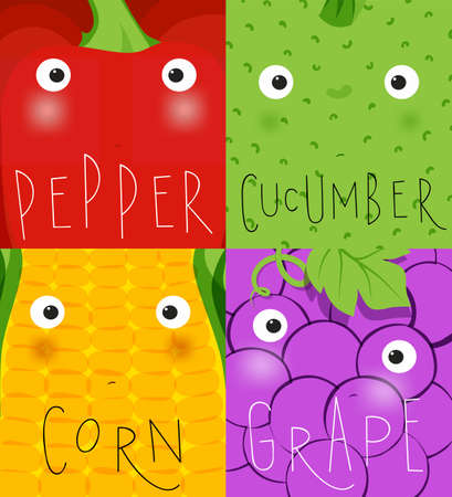 Set of fruits and vegetables muzzles pepper, cucumber, corn, grape drawing in cute cartoon style Illustration