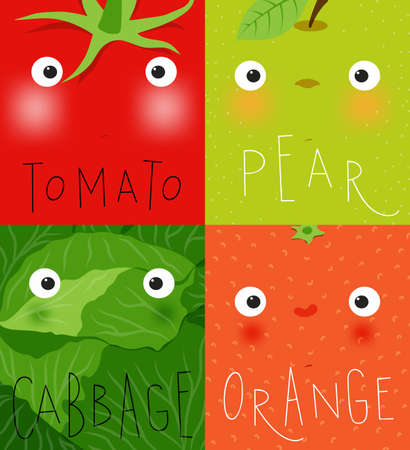 Set of fruits and vegetables muzzles tomato, pear, cabbage, orange drawing in cute cartoon style