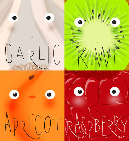 Set of fruits and vegetables muzzles garlic, kiwi, apricot, raspberry drawing in cute cartoon style Ilustração