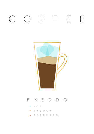 Poster coffee freddo with names of ingredients drawing in flat style on white background