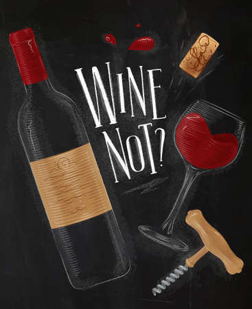 Wine poster in vintage style on chalkboard background.
