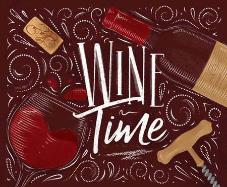 Wine poster lettering in vintage style on red background. Illustration