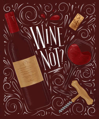Wine poster in vintage style on red background.