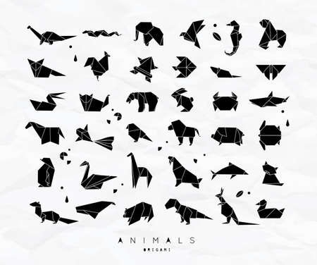 Set of animals in flat style origami vector illustration Illusztráció
