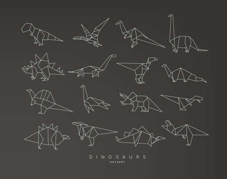 Set of dinosaurs in flat origami style vector illustration Stockfoto - 96212453