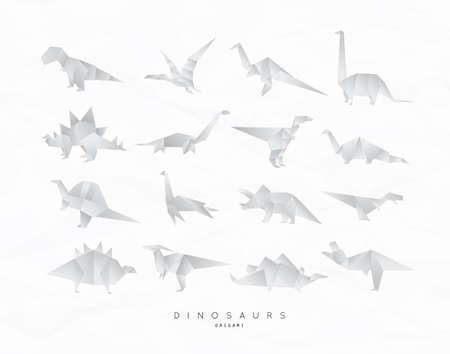 Conjunto de dinosaurios en estilo plano de origami. ilustración vectorial aislado en el fondo blanco . Foto de archivo - 96086669