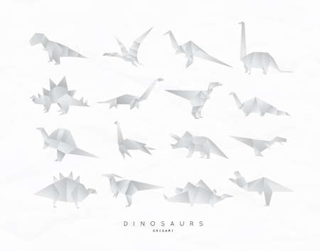Set of dinosaurs in flat origami style. Vector illustration isolated on white background.