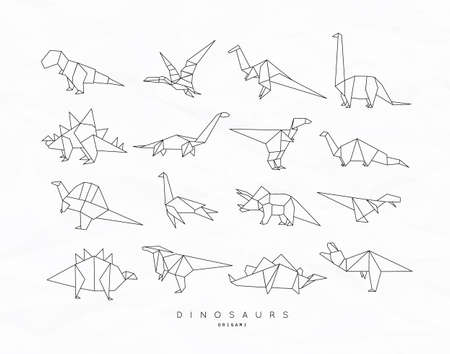 Set of dinosaurs in flat origami style vector illustration