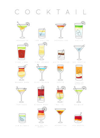Poster flat cocktails menu with glass, recipes and names of cocktails drinks drawing on white background