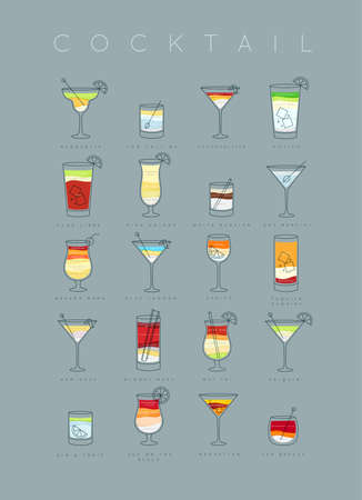 Poster flat cocktails menu with glass, recipes and names of cocktails drinks drawing on grayish blue background Illustration