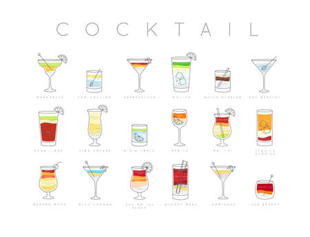 Poster flat cocktails menu with glass, recipes and names of cocktails drinks drawing horisontal on white background Vectores
