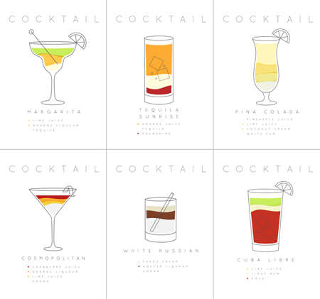 Set of flat cocktail posters margarita, tequila sunrise, pina colada, cosmopolitan, white russian, cuba libre drawing on white background