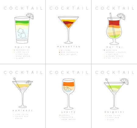Set of flat cocktail posters mojito, manhattan, mai tai, kamikaze, spritz, daiquiri drawing on white background Illusztráció