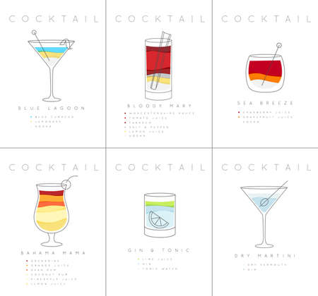 Set of flat cocktail posters blue lagoon, bloody mary, sea breese, gin and tonic, dry martini drawing on white background