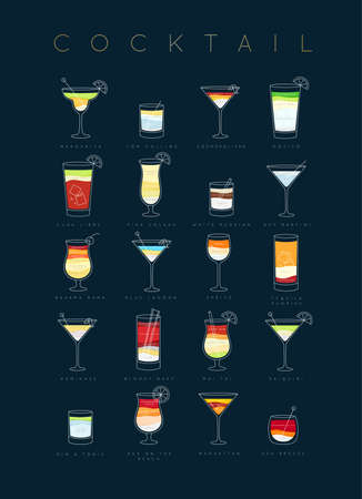 Poster flat cocktails menu with glass, recipes and names of cocktails drinks drawing on dark blue background