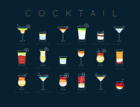 Poster flat cocktails menu with glass, recipes and names of cocktails drinks drawing horisontal on dark blue background Illustration