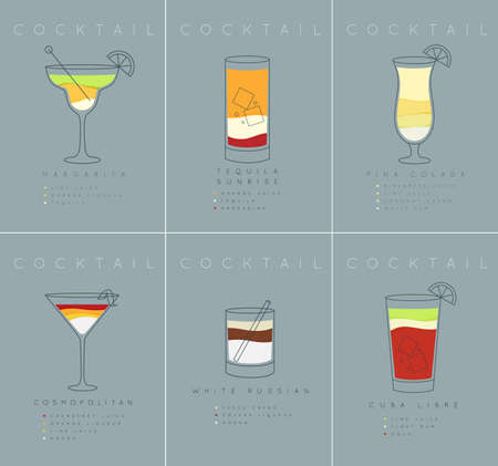 Set of flat cocktail posters margarita, tequila sunrise, pina colada, cosmopolitan, white russian, cuba libre drawing on grayish blue background