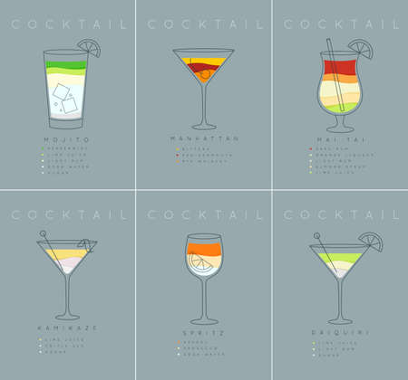 Set of flat cocktail posters mojito, manhattan, mai tai, kamikaze, spritz, daiquiri drawing on grayish blue background