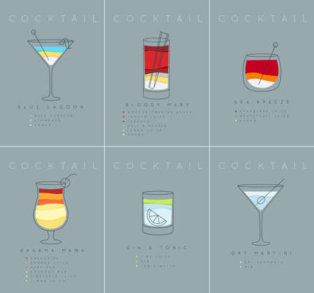 Set of flat cocktail posters blue lagoon, bloody mary, sea breese, gin and tonic, dry martini drawing on grayish blue background Illustration