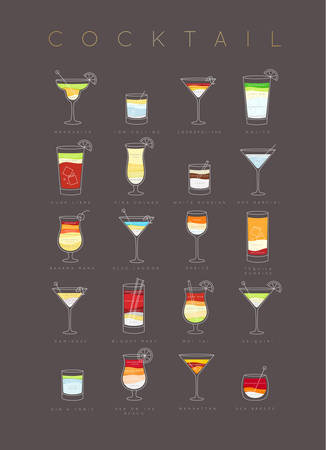 Poster flat cocktails menu with glass, recipes and names of cocktails drinks drawing on brown background Illustration