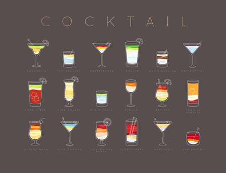 Poster flat cocktails menu with glass, recipes and names of cocktails drinks drawing horisontal on brown background